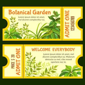 Bilhetes de jardim botânico com plantas tropicais.