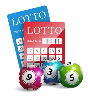 Bilhetes de loteria com bolas. jogos de azar, bingo, chance. conceito de sorte.