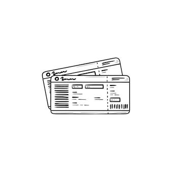 Bilhetes de ônibus mão desenhada esboço ícone de doodle. viagem de ônibus, turismo e viagem de negócios, conceito de passe de ônibus