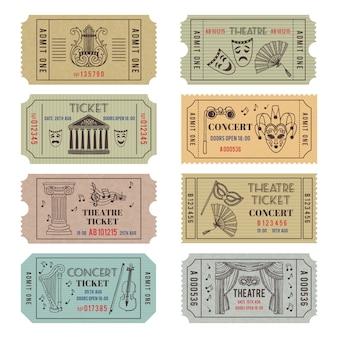 Bilhetes de teatro ou cinema vintage com diferentes símbolos monocromáticos de balé ou ópera