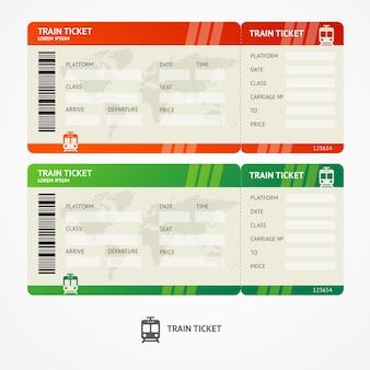 Bilhetes de trem de ilustração. conceito de viagens. isolado no branco.