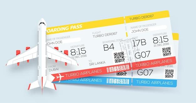 Bilhetes do cartão de embarque da companhia aérea reserva de bilhetes dois bilhetes na aeronave
