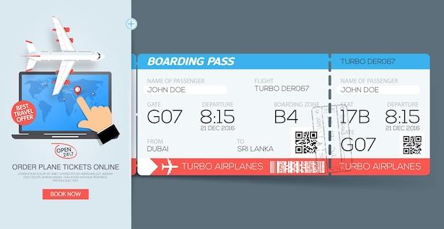 Bilhetes do cartão de embarque da companhia aérea reserva de bilhetes online