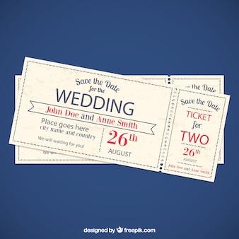 Bilhetes do convite do casamento