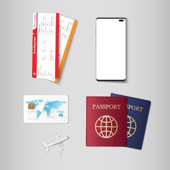 Bilhetes e passaporte para viagens