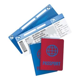 Bilhetes e passaporte para viajar para o exterior.