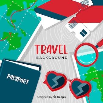 Bilhetes e passaportes viajam fundo