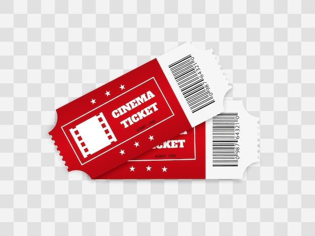 Bilhetes isolados no fundo branco. vista frontal realista. ingresso de cinema a cores.