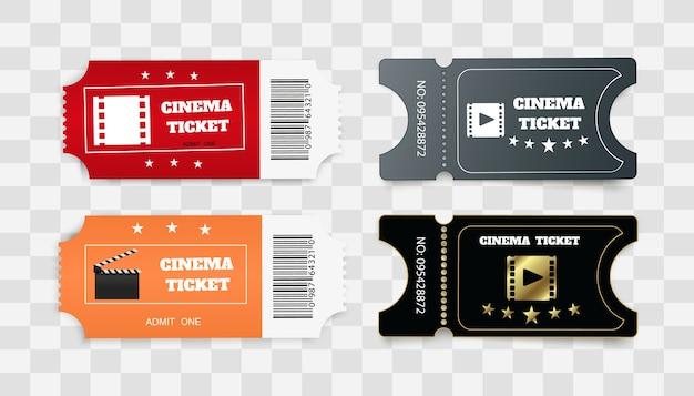 Bilhetes isolados no fundo branco. vista frontal realista. ingresso de cinema branco.