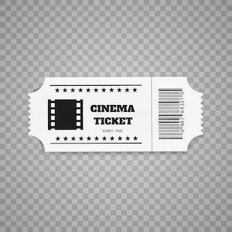 Bilhetes isolados no fundo branco. vista frontal realista. ingresso de filme.