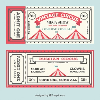 Bilhetes tenda de circo no estilo do vintage