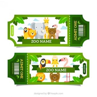 Bilhetes verdes do jardim zoológico com animais