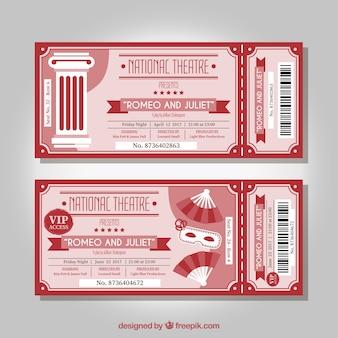 Bilhetes vermelhas do teatro do vintage