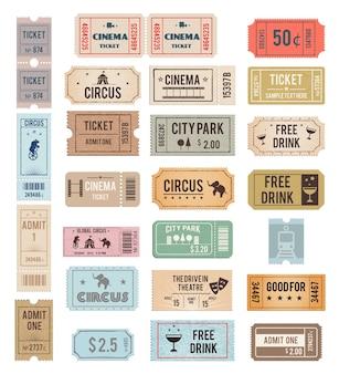 Bilhetes vintage com diferentes texturas grange