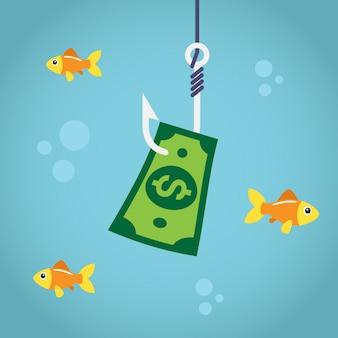 Bill dólar no gancho de pesca