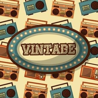 Billboard vintage palavra e fundo de cassete de rádio boombox