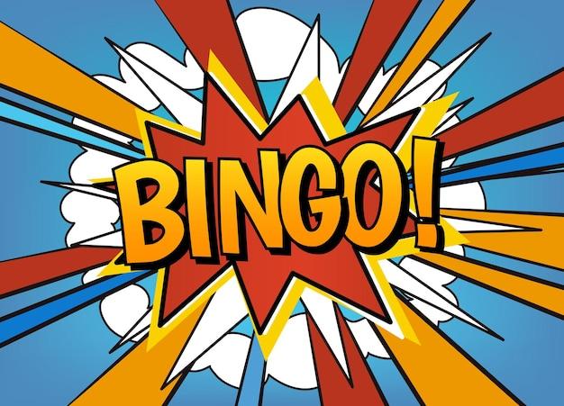 Bingo! desenho de vetor de bolha do discurso em quadrinhos. fundo de desenho animado de explosão com lugar para texto.