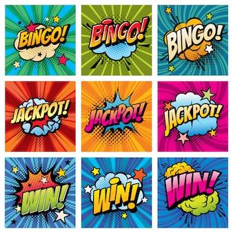 Bingo e ganhar bolhas em quadrinhos pop art conjunto