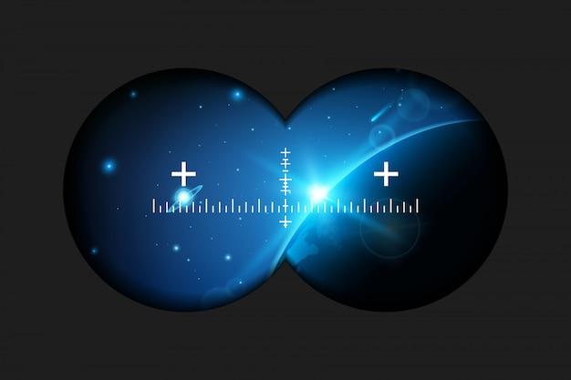 Binóculos, alvo de rifle, óculos de realidade virtual.