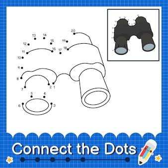Binóculos crianças conectam a planilha de pontos para crianças contando os números 1 a 20