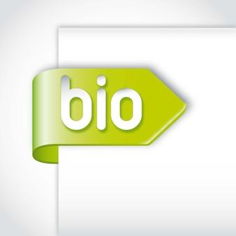 Bio tag verde sobre o papel sobre o fundo cinzento. ilustração vetorial