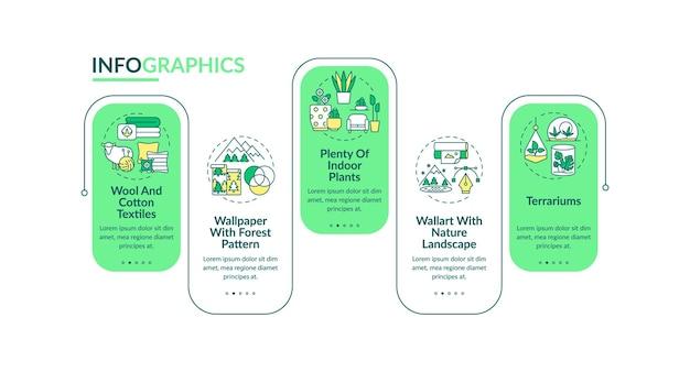 Biofilia em ilustração de modelo de infográfico de design de interiores