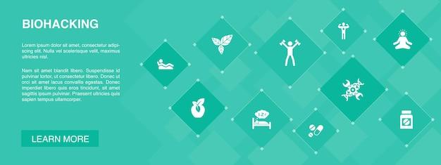 Biohacking banner 10 icons concept. alimentos orgânicos, sono saudável, meditação, drogas ícones simples