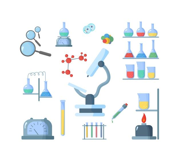 Biologia de laboratório químico de ciência e tecnologia. balão, microscópio, lupa, telescópio. ensino de ciências biologia o vírus do estudo, molécula, átomo, dna. ilustração. .