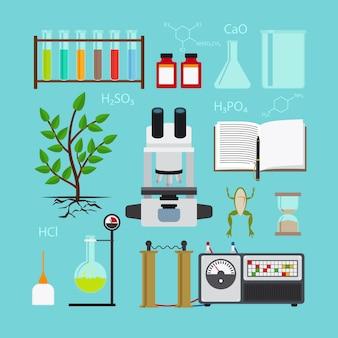 Biologia e ícones de laboratório químico