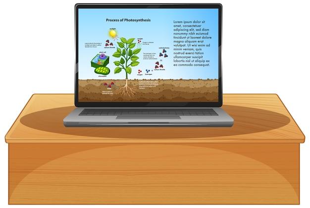 Biologia na tela do laptop