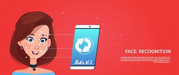 Biométrico, digitando, telefone esperto, acesso, tecnologia, femininas, usuário, rosto, reconhecimento, conceito, sistema segurança