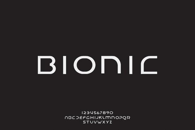 Biônica, uma fonte futurista abstrata do alfabeto com tema de tecnologia. design de tipografia minimalista moderno