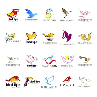 Bird logo set vector