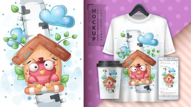 Birdhouse de bétula - cartaz e merchandising.