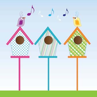 Birdhouses pequenos de várias cores ilustração vetorial