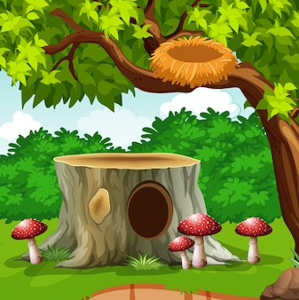 Birdnest no ramo no jardim ilustração