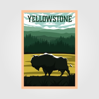 Bisão no poster vintage do parque nacional de yellowstone