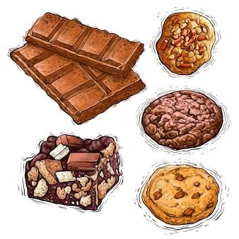 Biscoito de barra de chocolate e bolo com nozes e sobremesa ilustração em aquarela