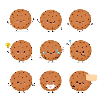 Biscoito de chocolate engraçado feliz bonito conjunto coleção. desenho animado personagem ilustração ícone do design. isolado no fundo branco