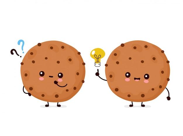 Biscoito de chocolate engraçado feliz fofo com ponto de interrogação e lâmpada de ideia. desenho animado personagem ilustração ícone do design.