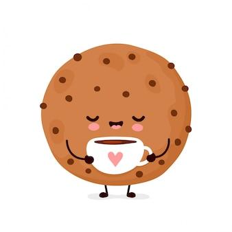 Biscoito de chocolate engraçado feliz fofo com uma xícara de café. desenho animado personagem ilustração ícone do design.