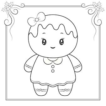 Biscoito de gengibre fofo feliz natal desenhando esboço para colorir