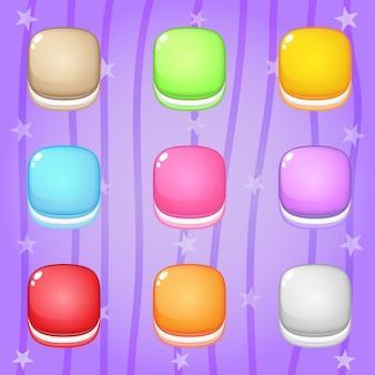 Biscoito de ícone em forma quadrada 9 cores para jogos de quebra-cabeça.