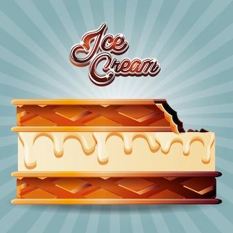Biscoito de sorvete delicioso