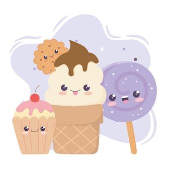 Biscoito de sorvete fofo cupcake e doces no personagem de desenho animado de kawaii de pau
