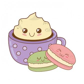 Biscoito doce com personagens de kawaii de pastelaria de caneca de chocolate