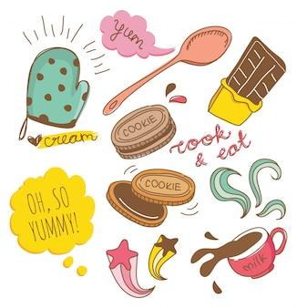 Biscoito e chocolate doodle