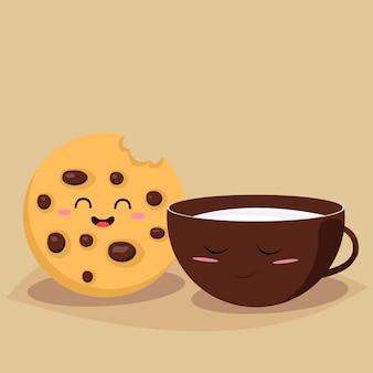 Biscoito engraçado com um copo de leite.