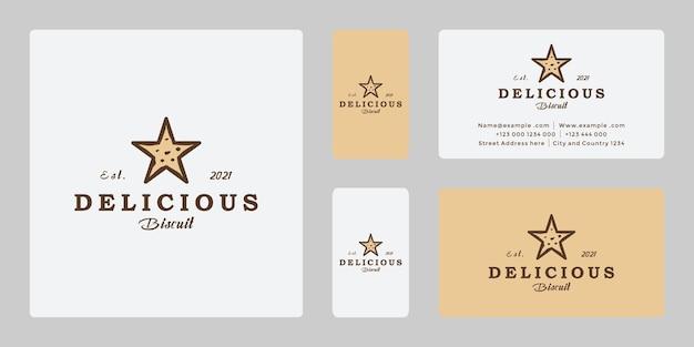 Biscoito estrela criativo, design retro do logotipo da comida dos sonhos