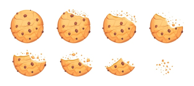 Biscoito inteiro, quebrado e mordido com batatas fritas de chocolate. biscoito redondo de batata frita caseira, migalhas de lanche deliciosos pastéis, ilustração em vetor sobremesa mordida de padaria isolada no fundo branco